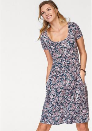 Платье CHEER. Цвет: темно-синий/цвет белой шерсти/дымчато-розовый в цветочек