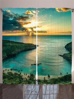 Фотошторы Плавный спуск к океану, 290*265 см Magic Lady. Цвет: голубой, желтый, зеленый