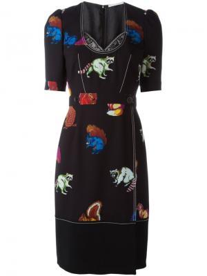 Приталенное платье с принтом животных Marco De Vincenzo. Цвет: чёрный