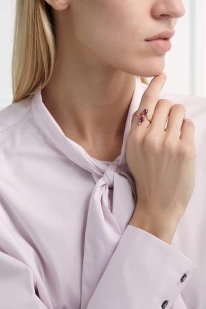 Позолоченное кольцо с аметистами Moonka Studio. Цвет: фиолетовый