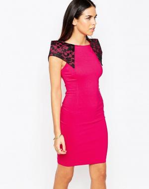 Vesper Платье-футляр с кружевными вставками на плечах Rogue. Цвет: розовый