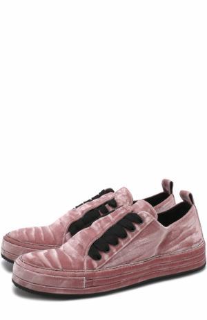 Бархатные кеды на шнуровке Ann Demeulemeester. Цвет: розовый