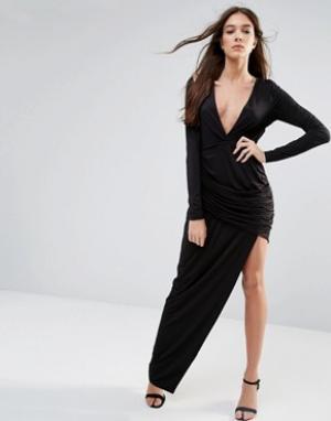 Hedonia Платье макси с длинными рукавами и вырезом. Цвет: черный