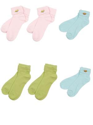 Носки детские, комплект 6 пар Malerba. Цвет: салатовый, голубой, розовый