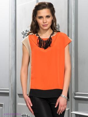 Блузка Top Secret. Цвет: оранжевый, бежевый, черный