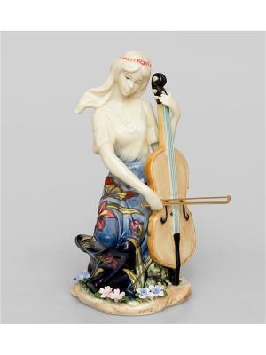 Статуэтка Волшебная Виолончель Pavone. Цвет: молочный, синий