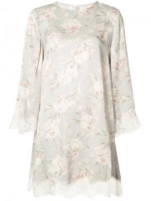 Платье-рубашка с цветочным узором Zimmermann. Цвет: серый