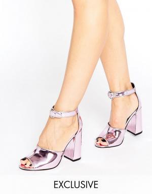 Office Розовые зеркальные сандалии на каблуке Stella. Цвет: розовый