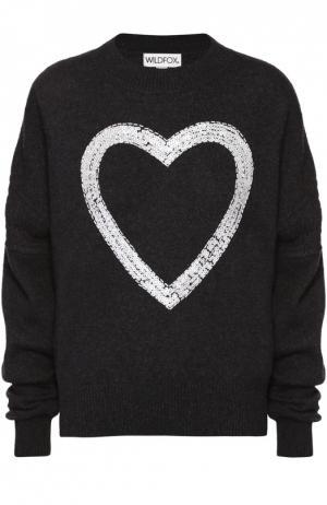 Кашемировый пуловер со спущенным рукавом и контрастной вышивкой Wildfox. Цвет: черный