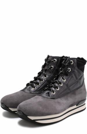 Замшевые ботинки на шнуровке Hogan. Цвет: серый