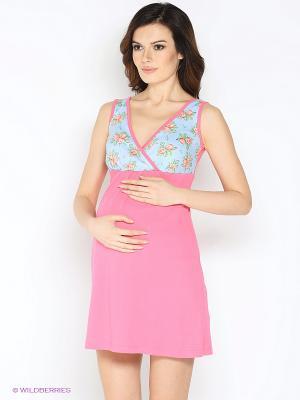 Комплект для беременных и кормления ( халат, ночная сорочка) 40 недель. Цвет: голубой, розовый