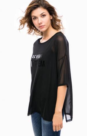 Черная блуза с топом в комплекте Kocca. Цвет: черный