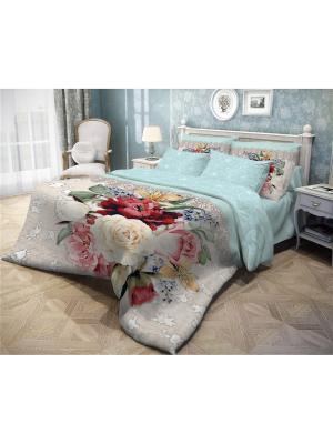 Комплект постельного белья ЕВРО, ВОЛШЕБНАЯ НОЧЬ DIGITAL, ранфорс, 50*70см, стиль-Прованс,  Weave. Цвет: бирюзовый,темно-серый,бежевый