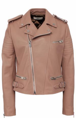 Кожаная куртка с косой молнией Bally. Цвет: светло-розовый