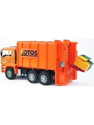 Мусоровоз MAN (цвет оранжевый) (подходит модуль со звуком и светом H) Bruder. Цвет: оранжевый