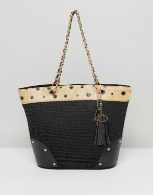 Pia Rossini Summer Bag with Spot Trim and Chain Handle. Цвет: черный