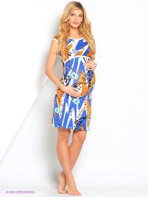 Ночная сорочка для беременных и кормления 40 недель. Цвет: синий, оранжевый, белый