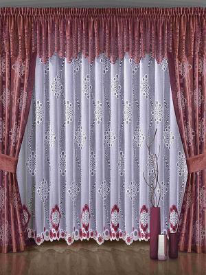 Комплект штор Wisan. Цвет: бордовый, белый
