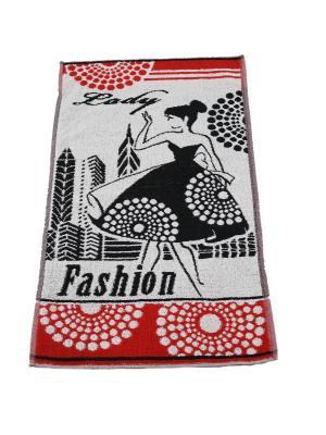 Полотенце махровое пестротканое жаккардовое 70x40 (Lady Fashion) Авангард. Цвет: черный,красный,белый