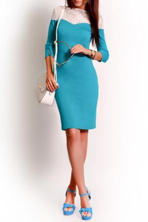 Платье FRANCESCA LUCINI. Цвет: изумрудный, белый