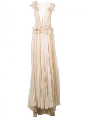 Платье-макси Marchesa. Цвет: металлический