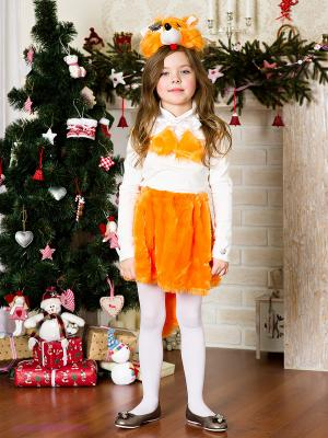 Карнавальный костюм Лиса-Кокетка Волшебный мир. Цвет: оранжевый, белый