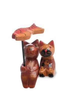 Статуэтка mini КОТ и КОШКА под зонтиком, набор 2 шт, в асс. Decor & gift. Цвет: коричневый