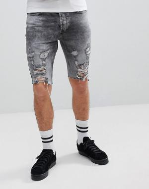 Religion Рваные джинсовые шорты зауженного кроя. Цвет: серый