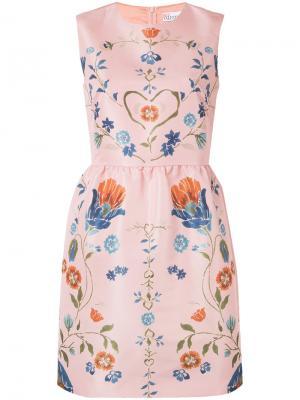 Платье с длинными рукавами и цветочным принтом Red Valentino. Цвет: розовый и фиолетовый