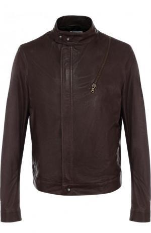Кожаная куртка на молнии с воротником-стойкой Tomas Maier. Цвет: коричневый