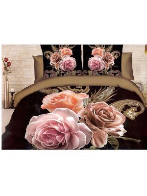 Комплект постельного белья Цветы-Ночь,евро La Pastel. Цвет: черный, бежевый, розовый