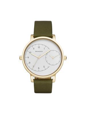 Часы SKAGEN. Цвет: белый, темно-зеленый, золотистый, желтый