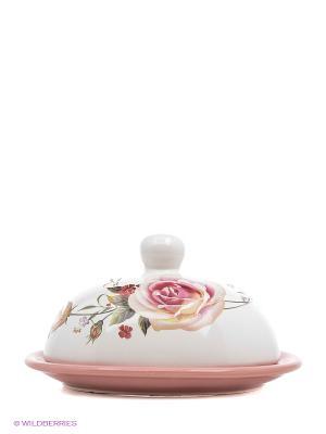 Масленка 2пр 10,5см НЕЖНОСТЬ LORAINE. Цвет: белый, розовый