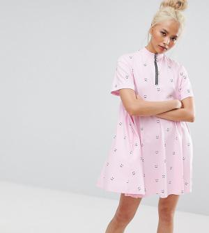 Lazy Oaf Свободное платье с короткими рукавами, принтом и молнией 6035483