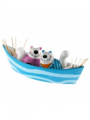 Набор для специй, подставка под зубочистки Кошки Сигги и Суси в лодке Goebel. Цвет: голубой, оранжевый, розовый