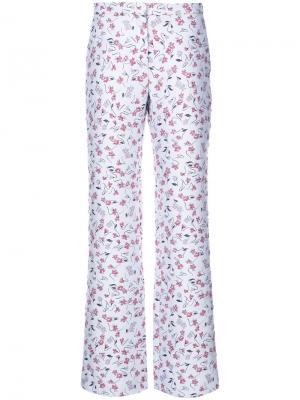 Прямые брюки с цветочным принтом Altuzarra. Цвет: белый