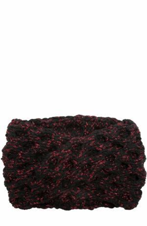 Шерстяная повязка фактурной вязки с отделкой металлизированной нитью 0711. Цвет: черный