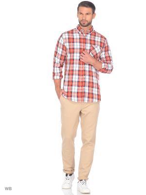 Рубашка Modis. Цвет: темно-бежевый, рыжий, светло-коралловый