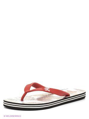 Шлепанцы DC Shoes. Цвет: красный, белый