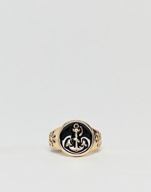 DesignB London Золотистое кольцо с черной эмалью эксклюзивно для ASOS. Цвет: золотой
