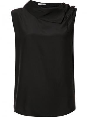 Блузка Charmeuse Asymmetric Collared Tome. Цвет: чёрный