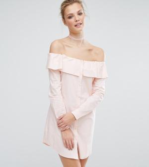 Fashion Union Tall Платье-рубашка со спущенными плечами и пуговицами. Цвет: розовый