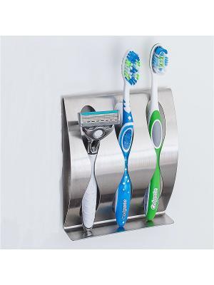 Держатель для зубных щеток и бритвы Tatkraft. Цвет: серебристый