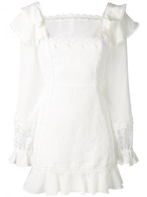 Короткое платье с кружевными вставками For Love And Lemons. Цвет: белый