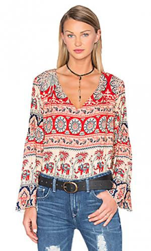 Крестьянская блуза с двойными v-образным вырезом Chaser. Цвет: персиковый