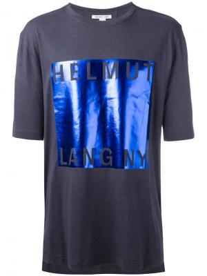 Футболка с деталью металлик Helmut Lang. Цвет: синий