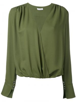 Longsleeve V-neck blouse Altuzarra. Цвет: зелёный