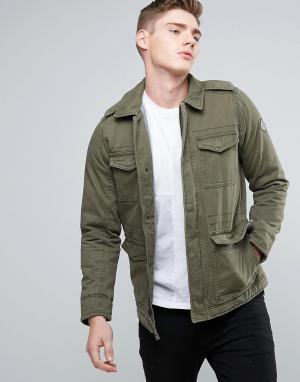Hollister Саржевая куртка оливкового цвета в стиле милитари M65. Цвет: зеленый