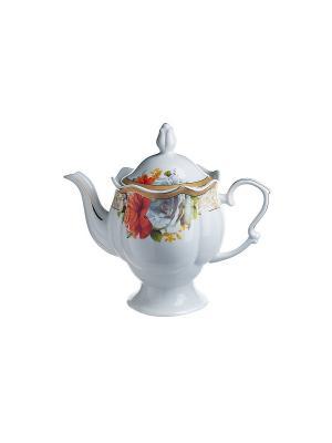 Чайник Вероника в п/у Elff Ceramics. Цвет: белый, красный