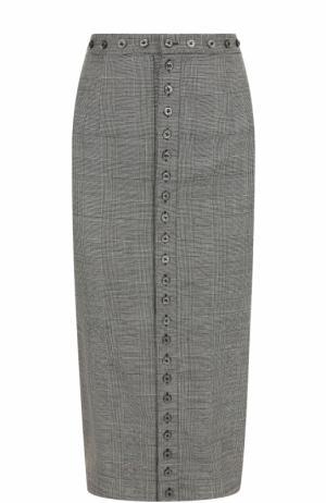Шерстяная юбка-карандаш в клетку Olympia Le-Tan. Цвет: серый